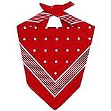Lipodo Dots Bandana Halstuch Kopftuch Stirnband Schal Gesichtsschutz für Damen Herren Kinder Winter Sommer (One Size - rot)
