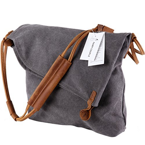 FAIRY COUPLE Unisex Canvas bag retro literary college style shoulder bag Messenger bag Korean version of C5069 (khaki) grey