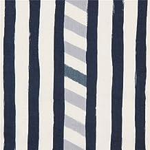 Tela gasa doble a rayas azul marino crema claro de echino Line