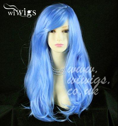 Atemberaubende lang gewellt Blau Damen Perücken Haut top Cosplay Perücke UK