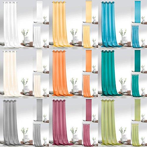 Fashion&Joy – Ösenschal Voile grau HxB 245×140 cm – transparent einfarbig – Dekoschal Gardine Typ418 - 2