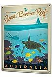Blechschild XXL Urlaub Reisebüro Great Barrier Reef Australien Wasserschildkröte Fisch Korallen