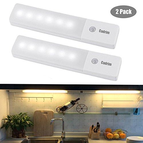 Cadrim LED Schrankleuchte USB Wiederaufladbare Magnetische Bewegungsmelder Nachtlicht Kabellos, für Schlafzimmer, Küche