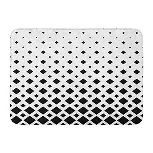Fußmatten Badteppiche Outdoor/Indoor Fußmatte Modernes Schwarz-Weiß-Muster Monochrome Geometric Graphic von Diagonal Squares Abstract Bathroom Decor Rug Badematte