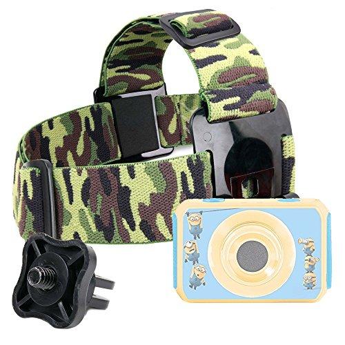 Duragadget fascia testa elastica militare per videocamera digitale lexibook cars move cam dja400dc - frozen move cam dja400fz - cattivissimo me dja400des - con adattatore