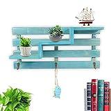 Fdit Wandboard Wand aus Holz Lagerung Rack Einlegeböden aus Holz organisieren Regal Retro Position von Tendenz-Ständer Bücher CD Ornamente Pflanzen Wanddekoration blau