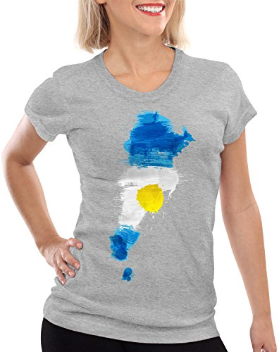 CottonCloud Flagge Argentinien Damen T-Shirt Fußball Sport Argentina WM EM Fahne, Farbe:Grau Meliert, Größe:M