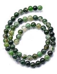 Naturaleza 6mm Verde De La Piedra Preciosa De La agata De Musgo Sueltas Perlas Espaciadoras 15 \ '\' Redonda