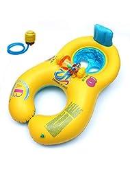 Bañera flotador hinchable doble anillos natación Nager piscina Mere bebé niño Ete juegos
