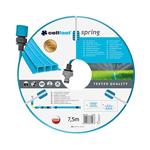 \\Cellfast Bewässerungsschlauch SPRING Dreikanalbewässerungsschlauch mit kompletten Verbindungsstücken aus Garn höchster Qualität, UV-Strahlenbeständig, 7,5m, 1/2 zoll, 19-021