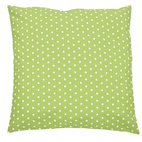 Sugarapple Kinder Kissenbezug 60cm x 60cm mit Reißverschluss, Kissen Bezug aus 100% Öko-Tex Standard 100 Baumwolle, ideal als Bezug für Dekokissen, Sitzkissen oder Kopfkissen, Apfelgrün mit weißen Sternen