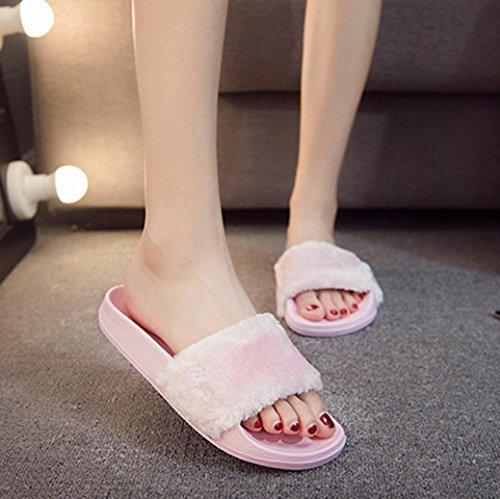 OverDose,Cuir Chaussons Mules Femme Chaussons Matelassés Confort Style à Enfiler Rose