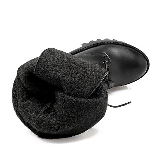 COOLCEPT Damen Mode-Event Retro Hoher Absatzen Schuhe Schnürung Mitte Der Wade Blockabsatz Datierung Martin Stiefel Schwarz