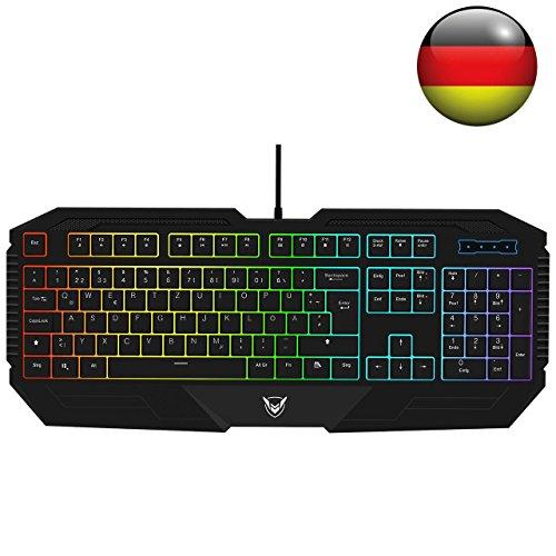 Pictek Gaming Tastaturen 26 Key Anti-Ghosting-Tastatur mit verstellbarer Rainbow LED-Hintergrundbeleuchtung, ergonomische Handballenauflage, wasserdichte Schwarz