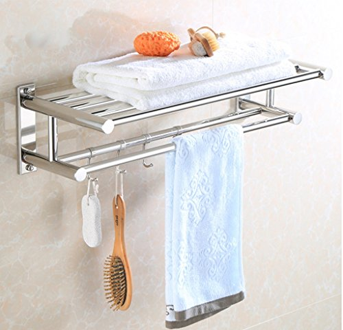 wysm Cuarto de baño WC estanterías de acero inoxidable de doble toalla  toallero estante toallero barra edf474351bcb