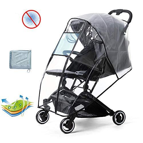 HBIAO Universal Regenschutz Kinderwagen Buggy mit UV-Schutz Fensterreißverschluss vorne Öffnung, Eva Transparent Wasserdicht Wind Staub Schnee Wetterschutz