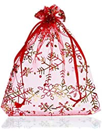 Souarts Red Christmas Snowflake Organza Jewelry Gift Pouch Bags Pack of 25pcs