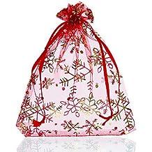 100 Schmuckbeutel 6x8cm Organza Säckchen Weihnachten Schneeflocken rot silber