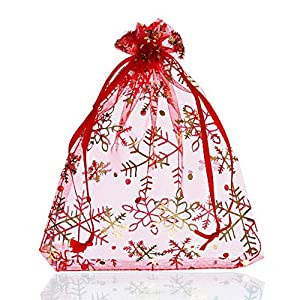 Souarts 25 Organzasäckchen Geschenkbeutel Schnee Rot