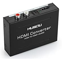 Musou Convertitore da Hdmi a Hdmi + audio, HDMI audio e video splitter, diviso diventare HDMI + RCA, HDMI a HDMI + SPDIF / Toslink + L / R, Extractor audio adattatore e Video convertitore, Supporto 3D 1080P Hi-Fi musica, Nero