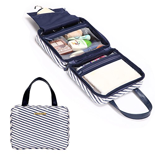 liveasy-mediterranean-style-foldable-navy-striped-cotton-hanging-toiletry-bag-washbag-with-stain-res