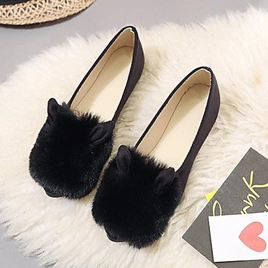 SHOESHAOGE Chaussures Pour Femmes Fleece Automne Mocassins Confort &Amp; Slip-Ons Bout Rond Pour Un Vert Armée Noir Gris Black