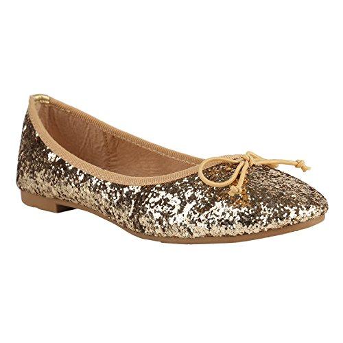 Klassische Damen Ballerinas | Glitzer Ballerina Schuhe Lack | Party Schuhe Zeitschuhe Schleifen | Basic Slipper Flats | Freizeitschuhe Hochzeit Abiball Gold Glitzer