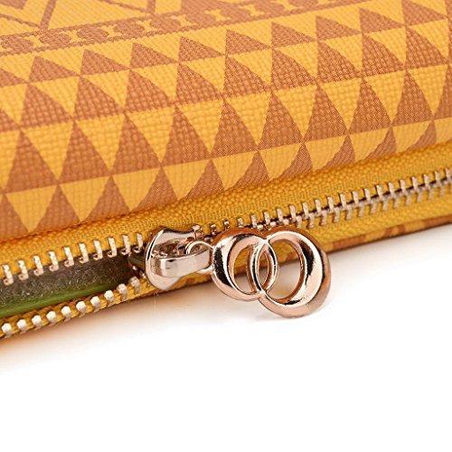 Kroo Tribal Style urbain pour téléphone portable Walllet embrayage pour Panasonic P61 multicolore White and Orange jaune
