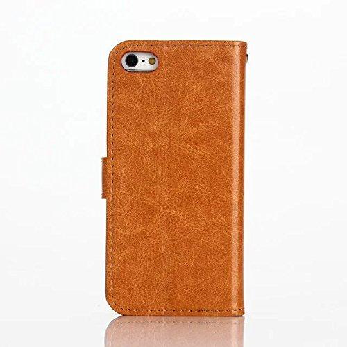 inShang Coque pour iPhone SE Cell Phone Housse de Protection Etui pour iPhone SE, SUPER PU Cuir case de premiere qualite Crystal brown