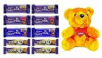 Valentines Special - Cadbury Maha Combo Dairy Milk Combo Pack of 10 with Teddy Bear