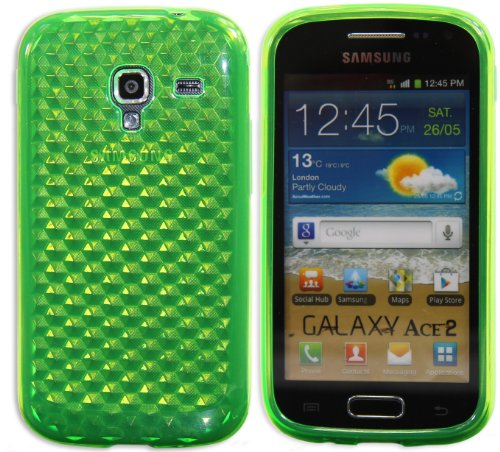 Luxburg Diamond Design custodia Cover per Samsung Galaxy Ace 2 GT-I8160 colore verde smeraldo, custodia in silicone TPU
