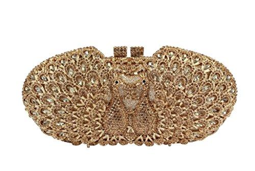 Yilongsheng femmes Double Peacock Prom embrayage Sacs avec Brillant Cristal Diamants tout or