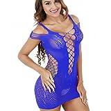 VENMO Damen Mesh Dessous Fischnetz BabyDoll Minikleid Body Babydoll Dessous Transparent Netz Unterwäsche Reizwäsche Minikleid Netzkleid Kleid Unterwäsche Negligee Erotik Bodysuit (Blue)