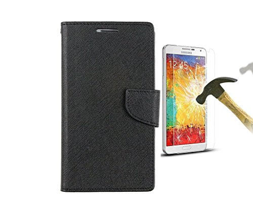 HTC Desire 820 Mercury Flip Wallet Diary Card Case Cover (Black+Tempered) By Mobile Life  available at amazon for Rs.219