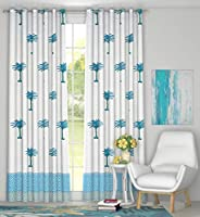 BLOCKS OF INDIA Cotton Grommet Door Curtains With Eyelet, 4 X 7, Blue, Pack of 2