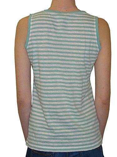 Armor Lux Damen Ohne Arm Top, Gestreift Grün - vert bio