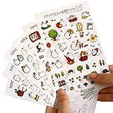 Zedtom 6 Blatt Tagebuch Sticker Fotoalbum Sticker Notizbuch Sticker - Süß Kaninchen für DIY Deko