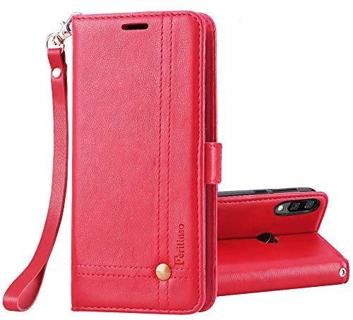 Ferilinso Cover per Xiaomi Redmi Note 7/ Note 7S/ Note 7 PRO, Custodia Cover Pelle Elegante retrò con Custodia Slot Holder per Carta di Credito Custodia di Chiusura Magnetica(Rosso)