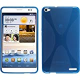 PhoneNatic Case kompatibel mit Huawei MediaPad X1 - blau Silikon Hülle X-Style + 2 Schutzfolien