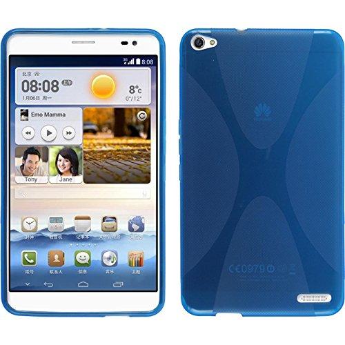 PhoneNatic Case für Huawei MediaPad X1 Hülle Silikon blau, X-Style + 2 Schutzfolien