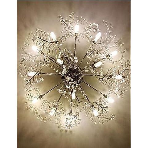 Acciaio inossidabile inciso deciduo Crystal LED luci a soffitto illumina Ciondolo , -bianco caldo
