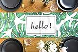 Tischläufer mit exotischen Monstera Blätter Bedruckt, 30x160cm, grün, ausgefallene Tischwäsche für Drinnen und Draußen, für Partys, Geburtstage, Hochzeiten und jeden Anlass