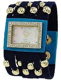 Funda de piel y inspirado en color block watch-blue