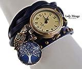 'Mitternacht' Echtleder Armbanduhr