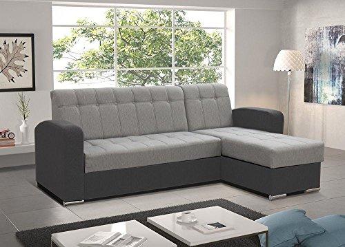 Don Baraton anticrisis.net Sofa Chaise Longue Cama con arcón - Salerno (Gris, Chaise Longue Derecha)