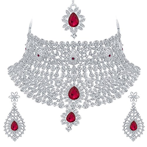 Sukkhi Classic Rhodium Plated AD Necklace Set For Women
