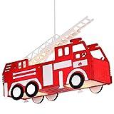 Feuerwehr Auto Hänge Leuchte rot Pendel Lampe Kinder Spiel Zimmer Beleuchtung Globo 15726 Test