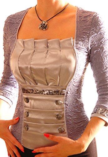 Poshtops Damen Bluse Grau