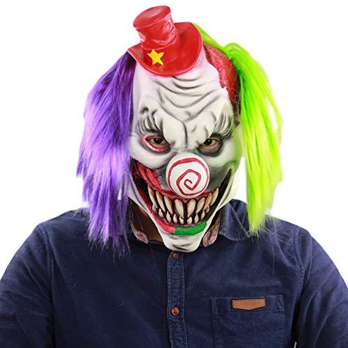 (Xinwcanga Horror Rotten Gesicht Clown Latex Ghost Maske Haunted Haus Dressing Kopf Cover Ghost Party Masken für Halloween-Requisiten (Weiß, One size))