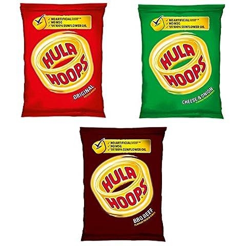 Hula Hoops Potato Rings Variety Pack 36 x 24g (12 x Original, 12 x BBQ Beef, 12 x Cheese & Onion)